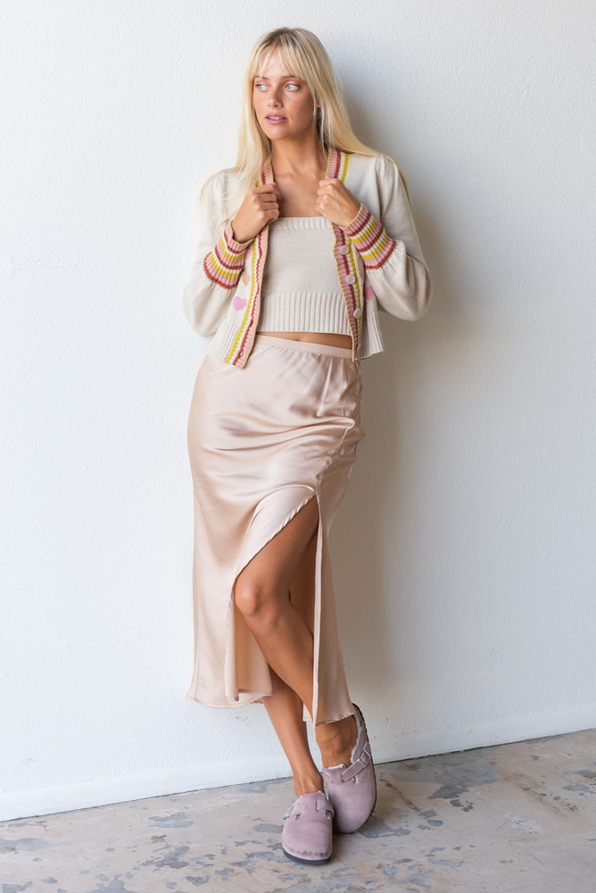 CALIstyle French Cafe Satin Midi Skirt In Champagne