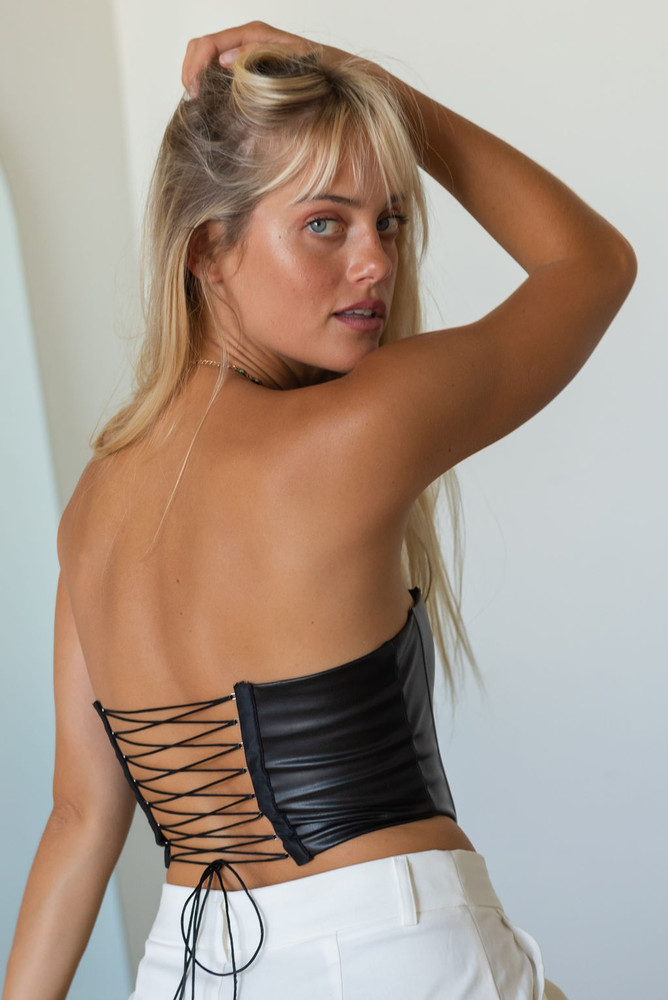 CALIstyle Paris Bound Leather Corset Top In Black - Vegan Leather Top