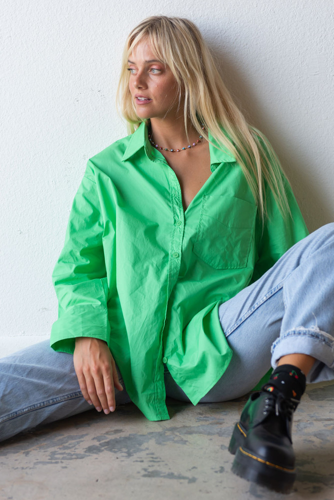CALIstyle Not Your Boyfriends Oversized Button Down Shirt In Green
