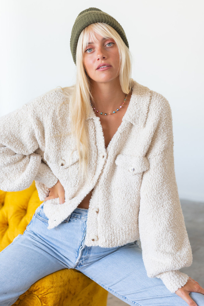CALIstyle The Right Feels Jacket/Cardigan In Ivory/Beige