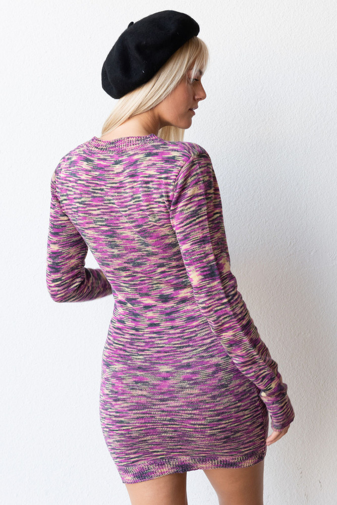 CALIstyle French Mood Knit Mini Dress In Orchid Multi