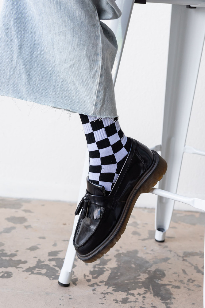 CALIstyle Checked In Socks - Black/White