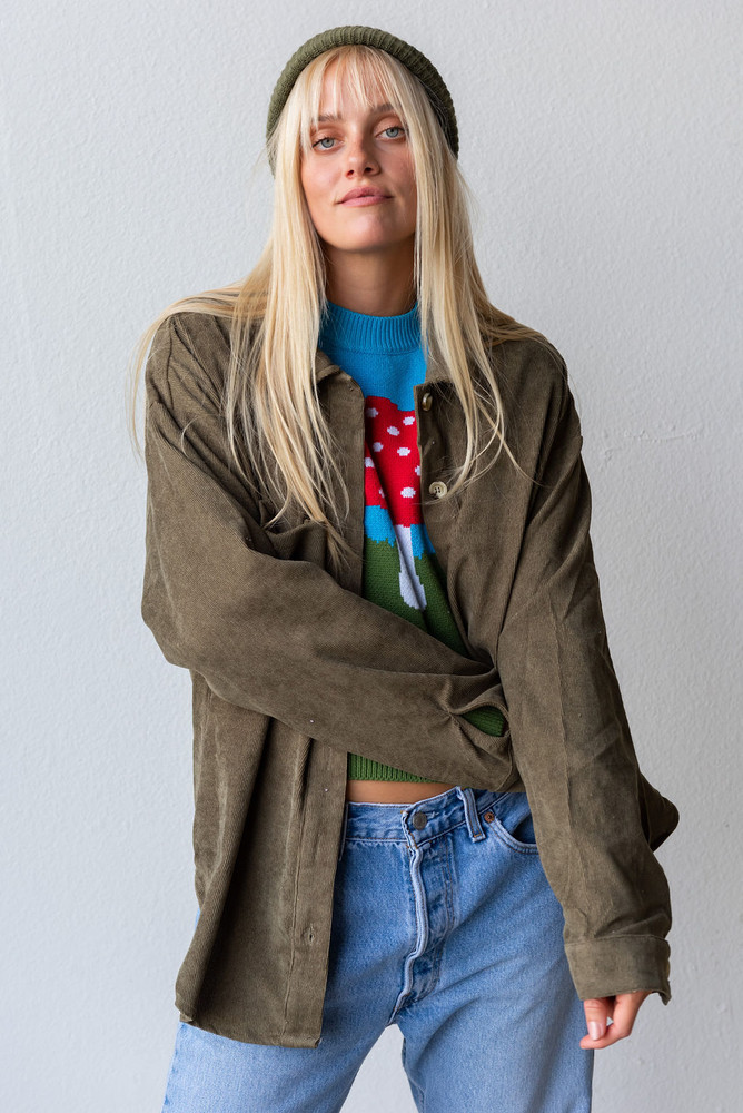 CALIstyle Not Your Boyfriends Button Down Shirt In Olive Corduroy