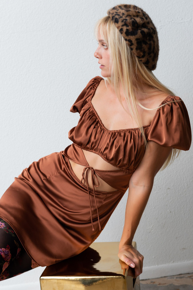 CALIstyle Paris With Love Satin Mini Dress In Brown