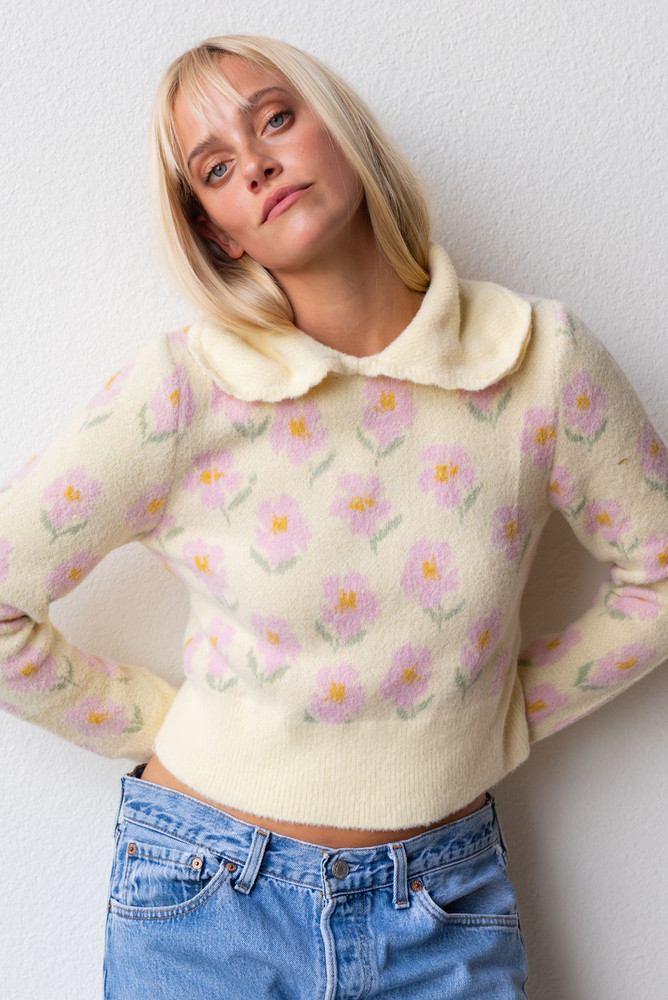 CALIstyle Sweetest Thing Collared Sweater In Pale Yellow Multi