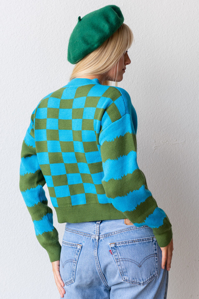 CALIstyle Big Sur Knit Sweater In Blue/Green Multi