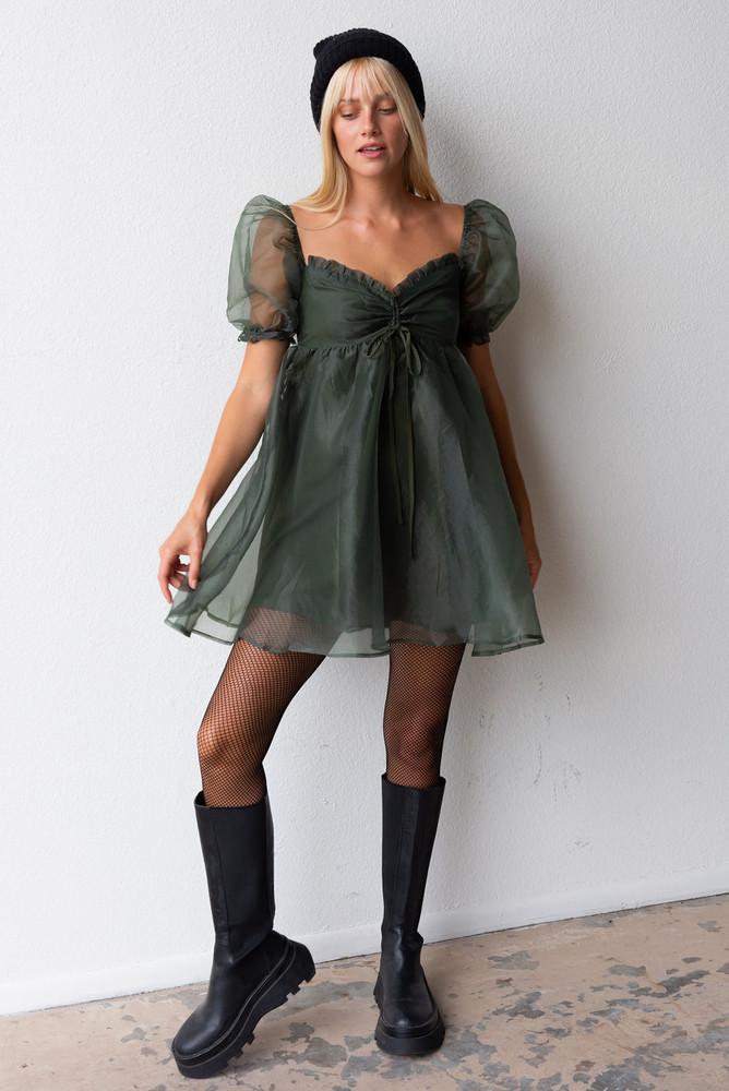 CALIstyle Gigi Puff Sleeve Mini Dress In Hunter Green