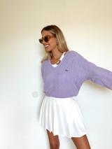 Vintage x Resurrection Lacoste Izod V Neck Sweater In Lavender