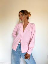 Vintage x Resurrection Lacoste Izod Oversized Cardigan In Pastel Pink