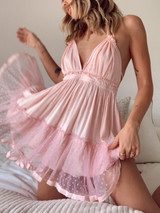 CALIstyle Pretty In Pink Gauze Baby Doll Dress In Blush