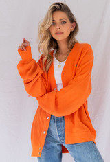 Vintage x Resurrection Izod Lacoste Oversized Cardigan In Orange
