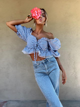 CALIstyle Georgie Crop Top In Blue Check