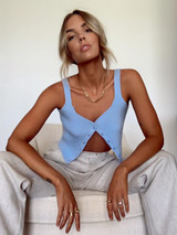 CALIstyle Serene Crop Tank Top In Sky Blue