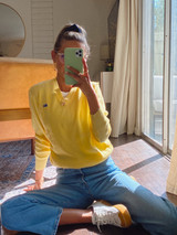 Vintage x Resurrection Lacoste Izod V Neck Sweater In Vibrant Yellow