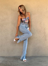 CALIstyle Covergirl Flared Leg Jean With Side Slit In Light Denim