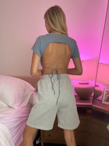 CALIstyle Back To Basics Backless Crop Top In Slate Blue
