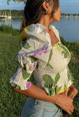 CALIstyle French Seaside Top In Ivory Floral