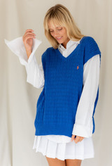 Vintage x Resurrection Polo V Neck Sweater Vest In Blue