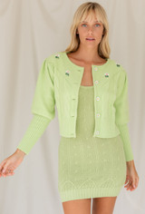 CALIstyle Sundays Embroidered Cardigan In Lime