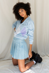 CALIstyle Give Me A Sign Pleated Mini Skirt In Light Denim