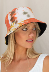 CALIstyle Madison Reversible Tie Dye Bucket Hat In Earth