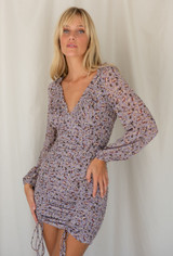 CALIstyle Fall Fling Mini Dress In Lavender Floral