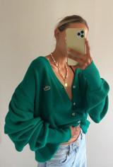 Vintage x Resurrection Lacoste Izod Cardigan Sweater In Jade/Teal