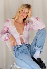 CALIstyle Petals Tie Front Top In Pink