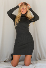 CALIstyle Downtown Girl Ribbed Knit Dress In Hunter Green
