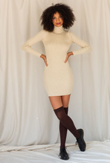 CALIstyle Downtown Girl Ribbed Knit Dress In Tan