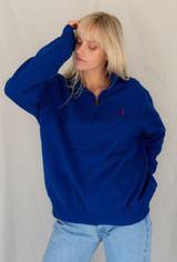 Vintage x Resurrection Polo Zip Front Oversized Sweater In Royal Blue