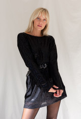 Motel Liama Dress In Draped In Sequin Black