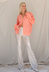 CALIstyle Sparkle All Night Sequin Trouser/Pant In Champagne
