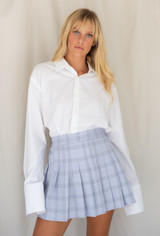 CALIstyle Fashion Sense Mini Skirt In Grey/Blue Plaid - RESTOCK
