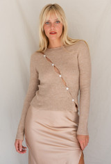 CALIstyle Nights Winter Knit Top In Oat