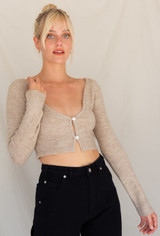 CALIstyle High Note Crop Cardigan In Heathered Beige