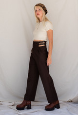 CALIstyle In My Element Buckle Crop Pants In Dark Brown