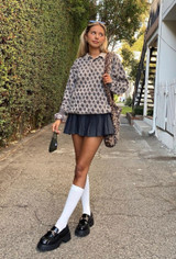 CALIstyle Paris In A Day Pleated Mini Skirt In Charcoal Plaid on @brit_harvey