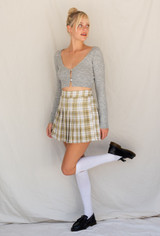 CALIstyle Fashion Sense Mini Skirt In Plaid/Olive - RESTOCKED