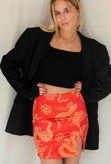 Motel Wren Skirt In Dragon Flower Red/Gold