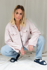 CALIstyle Mixing It Up Corduroy Shacket/Jacket In Pink