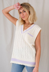 CALIstyle Parisian Girl Knit Vest In White/Lavender