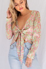 CALIstyle Change Of Season Tie Top In Pink Floral