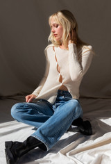 CALIstyle Nights Winter Knit Top In Pearl - Restock