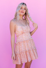 CALIstyle Golden Sunsets Baby Doll Dress In Pink/Orange Floral