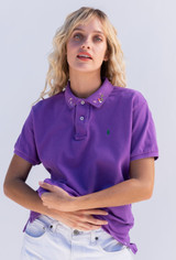 Vintage x Resurrection Hand Embroidered Lacoste Polo Knit Top In Purple