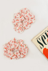 Girl Next Door Organza Scrunchie In Ivory/Cherry Print