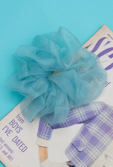 The Gigi Organza Large Scrunchie In Aqua
