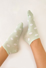Where The Flowers Are Socks In Sage Floral