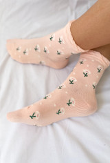 Full Bloom Socks In Pink Floral
